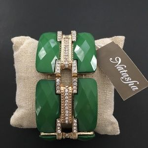 NWT Natasha green studded stretch bracelet